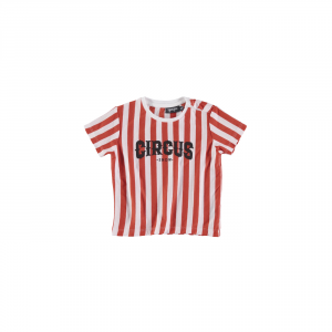 T-Shirt a righe bianche e rosse con stampa scritta nera