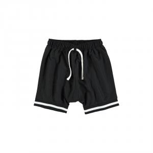 Pantaloncino nero con laccio e righe bianche