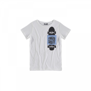 T-Shirt bianca con tasca celeste, stampe skate e scritta neri