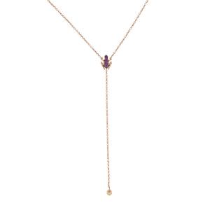 Collana Y-shape in oro rosa e rubini
