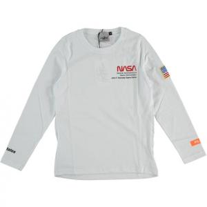 T-Shirt bianca con stampa scritte e toppa