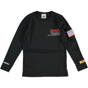 T-Shirt nera con stampa scritte e toppa