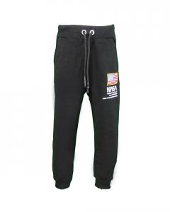 Pantalone nero di tuta con stampa scritte bianche e toppa