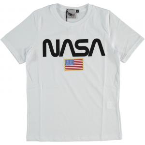 T-Shirt bianca con stampa logo nero e toppa