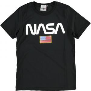 T-Shirt nera con stampa logo bianco e toppa