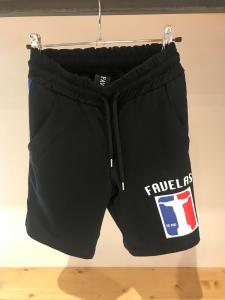 Pantaloncino nero di tuta con stampa logo e bande