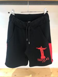 Pantaloncino nero di tuta con stampa logo e bande rosse