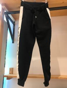 Pantalone nero di tuta con stampe logo nero e bande bianche