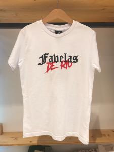 T-Shirt bianca con stampa logo nero e rosso