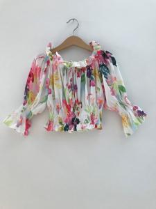 Blusa bianca con stampa fiori multicolore