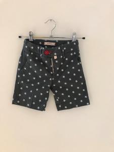 Pantaloncino grigio con stampa stelle bianche