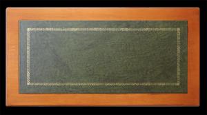 Scrittoio classico stucchi, piano in pelle