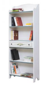 Libreria decorata con ripiani e cassetto