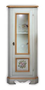 Mobiletto ad angolo decorato con vetrinetta