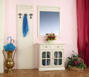 Credenza ingresso con specchio e attaccapanni