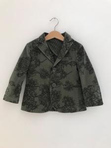 Giacca verde con stampa fiori verdi scuri