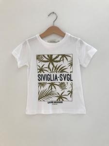 T-Shirt bianca con stampe scritte nere e foglie verdi
