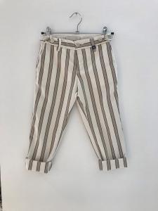 Pantalone panna con righe beige e nere