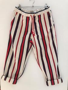 Pantalone panna con righe rosse e blu scure
