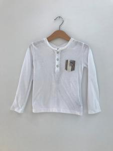 T-Shirt bianca con tascha a righe multicolore
