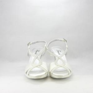 Sandalo sposa elegante da cerimonia con cinghietta incrociata realizzato in tessuto di raso e glitter.
