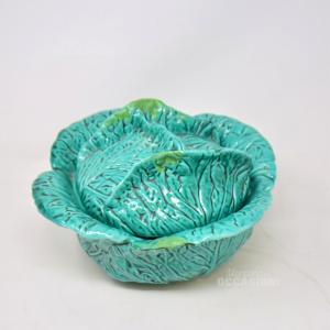 Insalatiera In Ceramica Verde A Forma Di Lattuga
