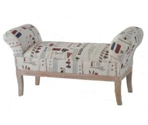 Divanetto Shabby Chic in legno e tessuto stampato