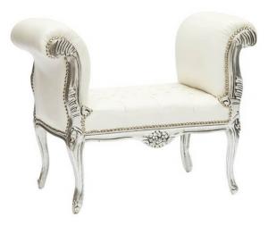 Divanetto barocco argento e bianco panca