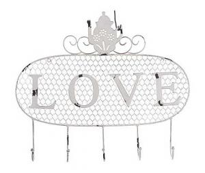 Appendino Love, 5 ganci, in ferro bianco, anticato ,Stile Shabby Chic, 52x5x44cm