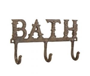 Appendino Bath, in ghisa, con tre ganci, da bagno, 25x5x14cm