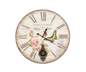 Orologio da parete a pendolo farfalle