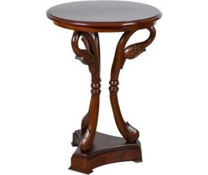 Tavolino legno noce rotondo cigno