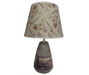 Lampada da tavolo base in ceramica paralume in tessuto