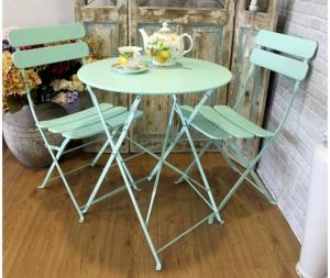 Set giardino tavolo e sedie in ferro colore verde acquamarina