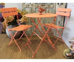 Set giardino tavolo e sedie in ferro colore arancio