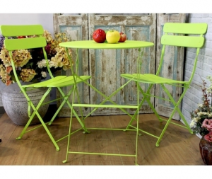 Set giardino tavolo e sedie in ferro colore verde flu˜