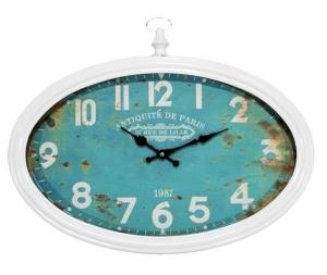 Orologio da parete ovale verde acqua Antik