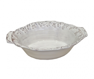 Ciotola ovale ceramica bianco-grigio Antik