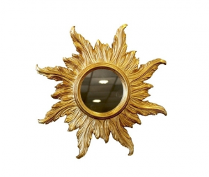 Specchio da parete rotondo forma di sole oro diametro 48cm