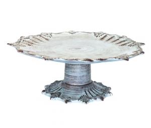 Alzata in ceramica turchese e bianco 15x32cm porta torta arredo cucina