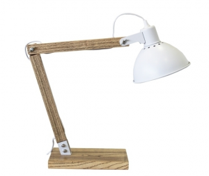 Lampada da tavolo in legno paralume bianco