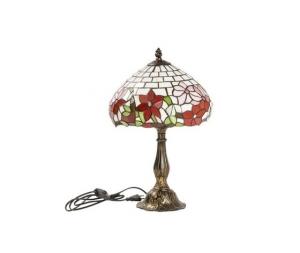 Lampada da tavolo base in ottone fiori Tiffany