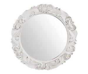 Specchio rotondo cornice lavorata bianco diametro 23 cm Stile Shabby Chic