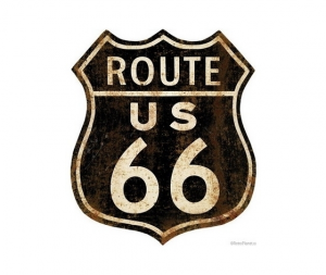 Targa in metallo 'route 66'