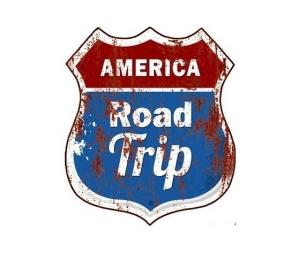 Targa in metallo 'road trip'
