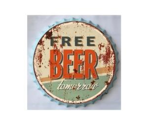 Pannello decorativo in metallo free beer