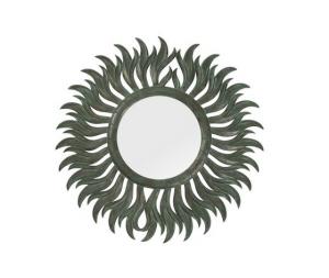 Specchio sole rotondo verde rame diametro 90 cm anticato