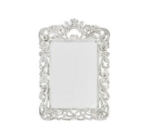 Specchio da parete cornice in legno bianco 90x3x130cm Stile Shabby Chic