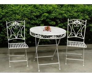 Set tavolo e 2 sedie da giardino in ferro bianco