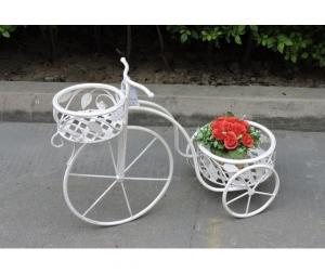 Bicicletta portafiori decorativa in ferro bianco